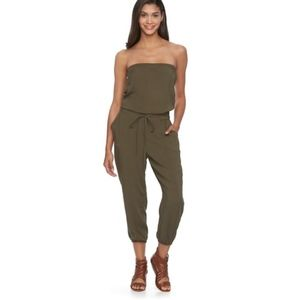 Olive green strapless jumpsuit from Mudd